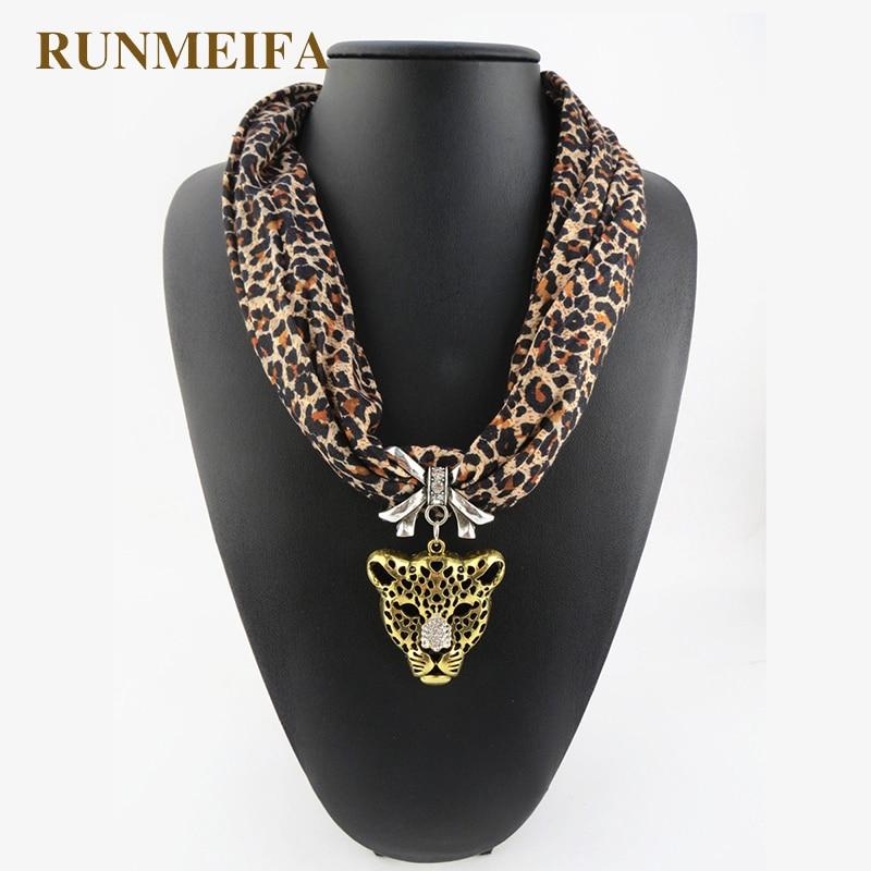 The beautiful leopard pendant jewelry scarf