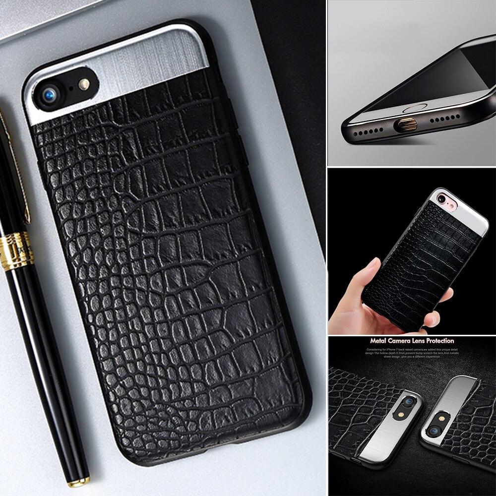 Для iPhone 7 чехол Металл + Силиконовые Мягкая обложка ультра тонкий Роскошные защиты змеиной кожи телефон чехол для iPhone 6 6 S 7 8 плюс
