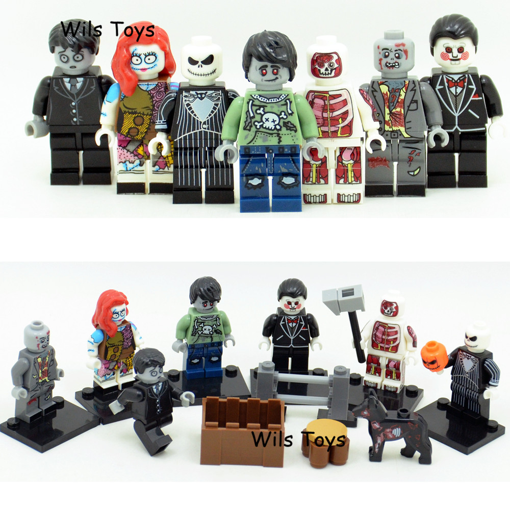 7pcs Zombie Jack Skellington Ghost Horror Theme Movie Building Blocks Bricks Figures Halloween Educational Toy for Boys children single sale the horror theme movie exorcist leartherface pincushion hockey mask hunter building blocks toys for children kf8007