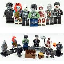7pcs Zombie Jack Skellington Ghost Horror Theme Movie Building Blocks Bricks Figures Halloween Educational Toy for