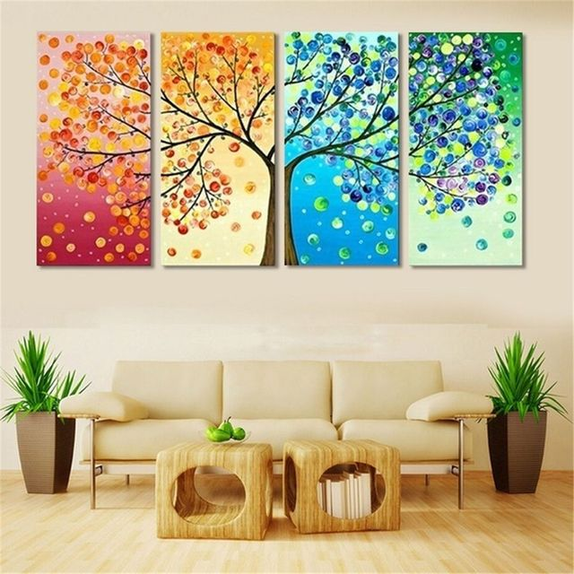 40x60x4 Four Seasons Trees Wall Art Canvas Painting Decoration For Living Room Picture Colourful Leaf