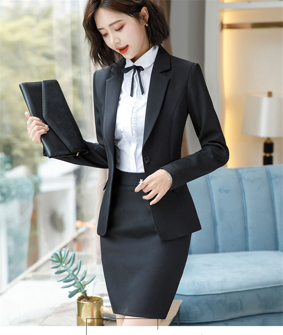 Work Fashion Pant Suits 2 Piece Set for Women singel Breasted solid color Blazer Jacket&Trouser Office Lady Suit Feminino 37