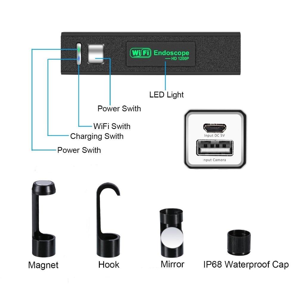 WIFI Endoscope Camera HD 1200P 1 10M Mini Waterproof Hard Wire Wireless 8mm 8 LED Borescope WIFI Endoscope Camera HD 1200P 1-10M Mini Waterproof Hard Wire Wireless 8mm 8 LED Borescope Camera For Android PC IOS Endoscope