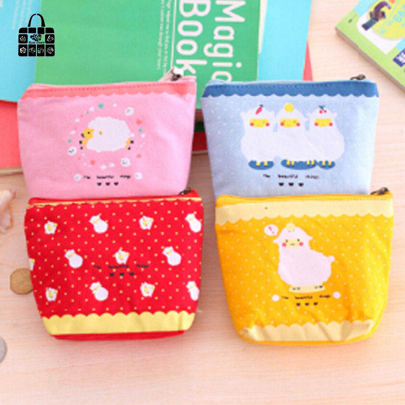 RoseDiary 4 color lovely sheep cotton zipper Kids Wallet Kawaii Bag Coin Pouch Children girl Purse Holder Women Coin Wallet 1 pcs rosediary cartoon girl pu leather zero wallet children girl boy zipper bag women pocket pouch bag keys coin bag kids gifts
