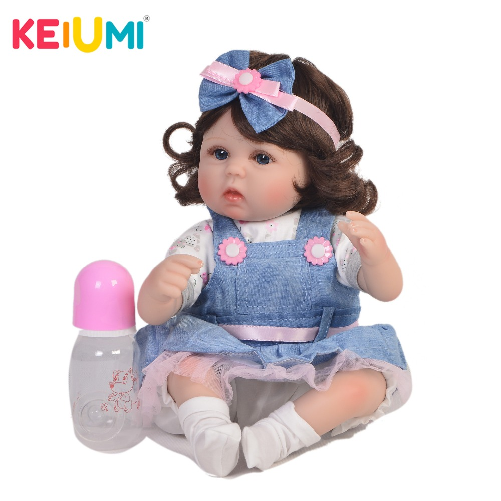KEIUMI 17 Inch Wholesale Reborn Girl Doll Soft Silicone 42 cm Cotton Body Realistic Baby Toy