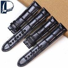 Pesno Suitable for Montblanc Crocodile Leather font b Watch b font Strap 19mm Black Alligator Skin