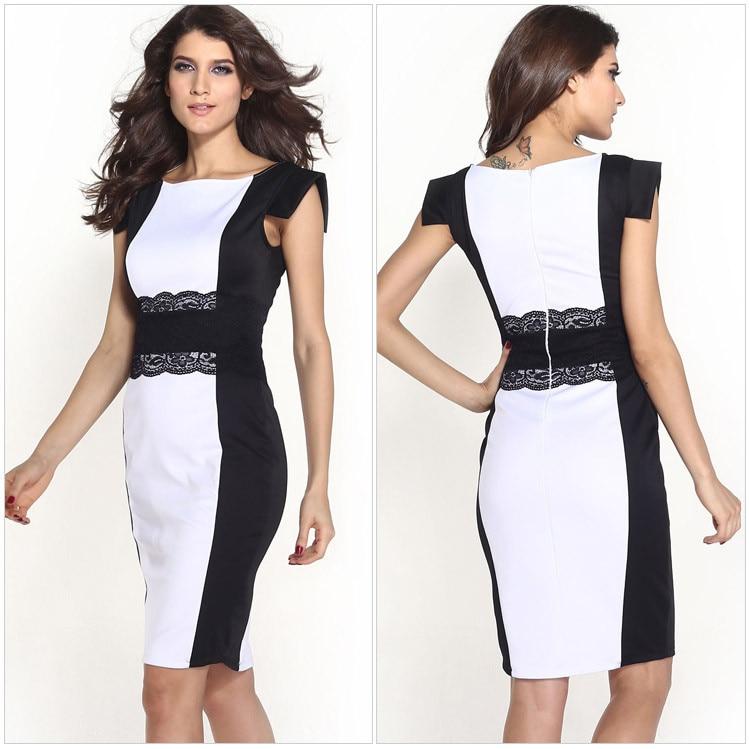 Aliexpress.com : Buy Black White Stitching Lace Belt Midi Dress ...