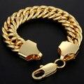 Davieslee 15mm de Largura (Comprimento personalizado 8-11 polegada) Mens Cadeia Curb Duplo Cadeia Rombo Link Amarelo Gold Filled GF Pulseira DLGBM84