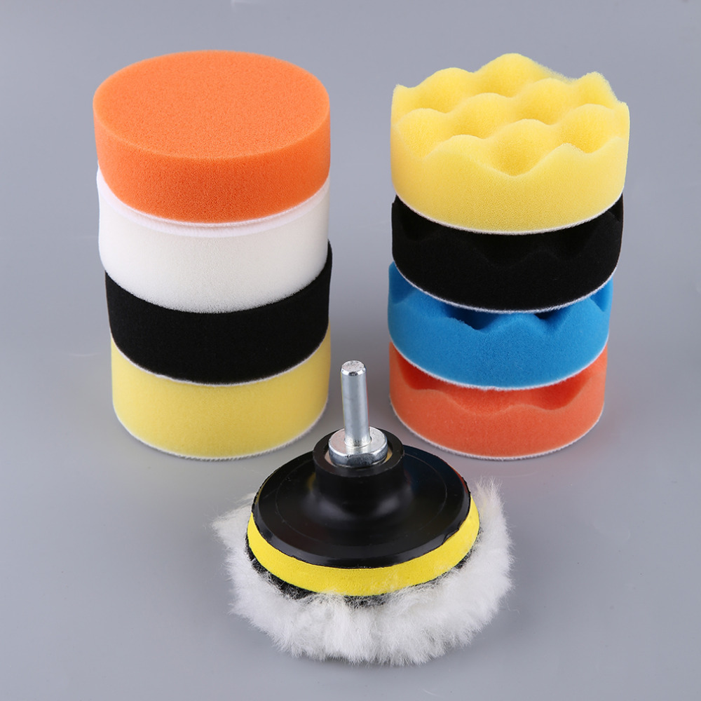Newest Professional 3/4/5/6/7 Inch 11pcs/set Automobile Car Polishing Pad Set M14 Vehicle Cleaning Washing Polish Sponge Wheel