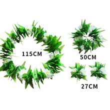 New 4 Pcs Green Leaf Wreath Hawaiian Flower Garland Necklace For Beach Fancy Stage Performance Dress Party Decoration