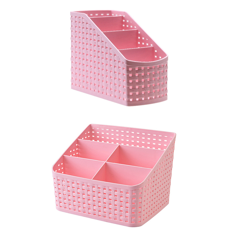 Office Stationery Holder, Four Compartment Plastic Rattan Plaited Desk Organizer Storage Holder For Office Desk