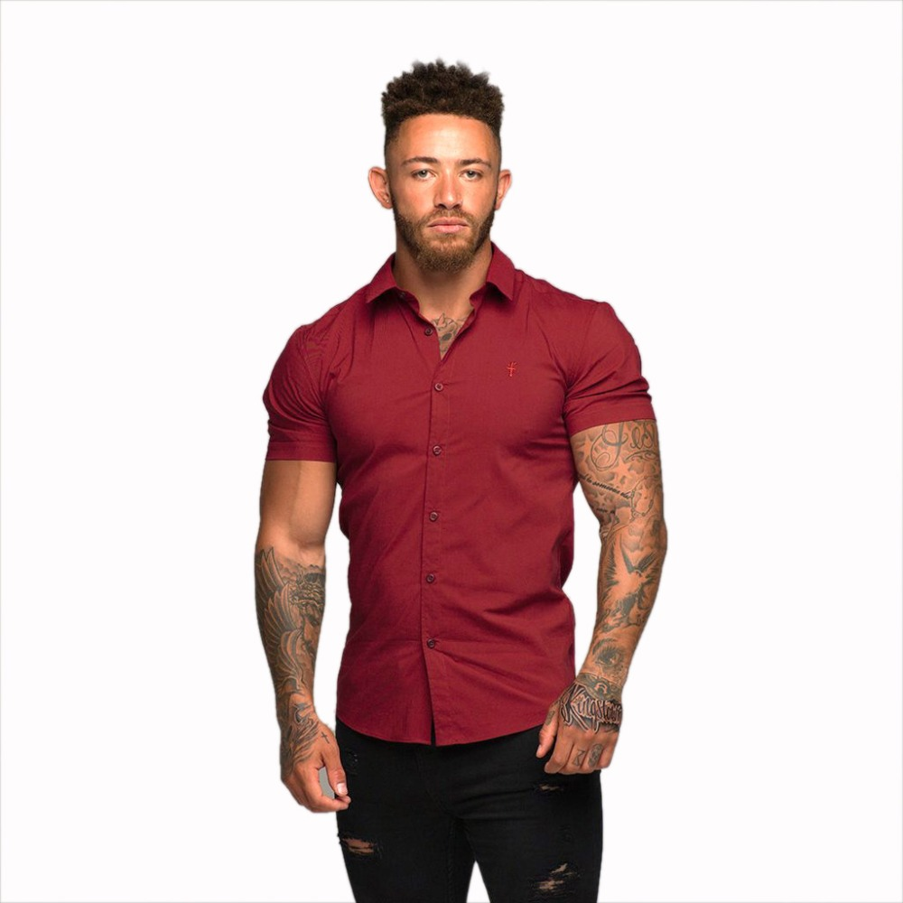 2018 European New Cotton Linen Shirts Man Summer Men's Short Sleeve Shirts Red Wine Business Dress Shirts Turn-down Collar