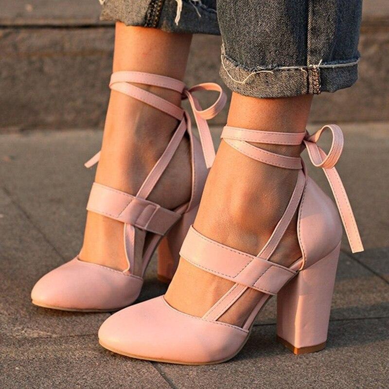 Plus Size Women Sandals Sexy Women Pumps Summer Women Shoes Block Heels Square Heel Sandals High Heels Ladies Shoes Sandalias