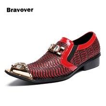 Модный бренд красный Мужская модельная обувь из золотистого металла свадебные туфли с острым носком официальные туфли в деловом стиле Большие размеры 38–46