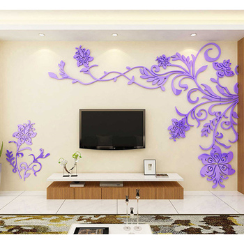 European Style 3D Flower Tree Wall Sticker Living Room Decorative Decals Home Art Decor Poster Solid Acrylic Wallpaper Stickers 10