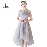 LOVONEY Sexy Boat Neck High Low Short Evening Dresses With Appliques 2017 Hot Sale Lace Up