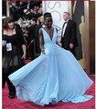 Dac808 moda playa vestido largo Celebrity Sexy profundo escote en v correas anchas Sash Backless Lupita Nyong'o la 86a anual vestido Oscars
