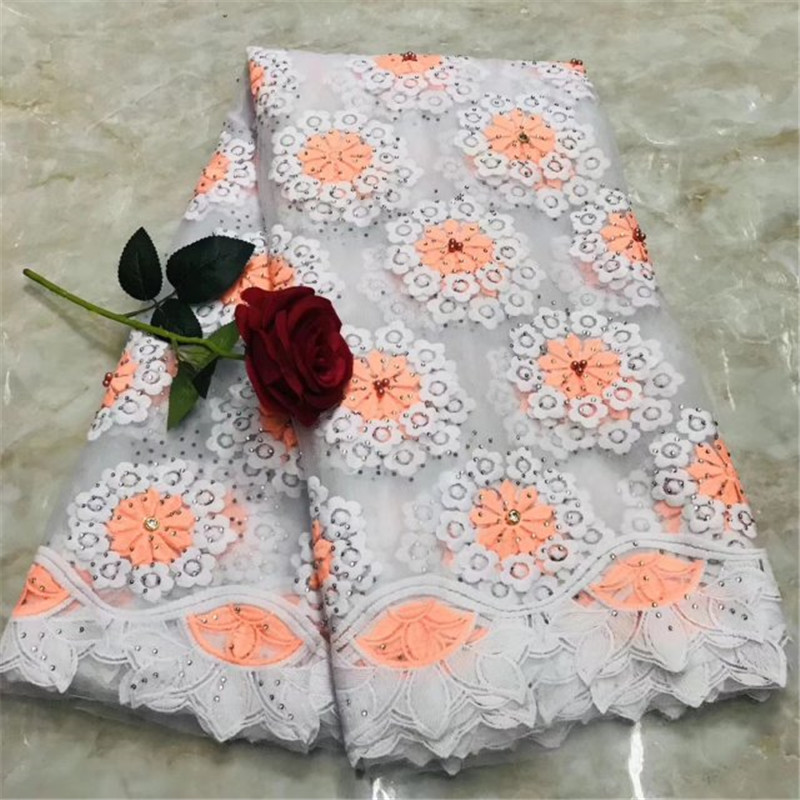 White Black African Lace Fabric Swiss Voile Lace With Rhinestones And Beans Fashion Guipure Lace Fabrics For Dress Clothes Pink