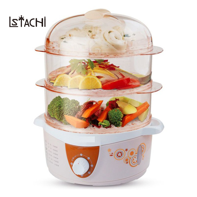 LSTACHi Household Electric heating Food Steamer 3 Layer Multifunction 4L with timer snake steaming cooker heater 60 Minutes multifunction electric steamers household steaming