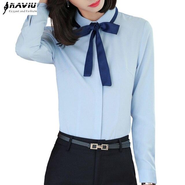 Neue mode bogen lange hülse frauen hemd elegante OL plus größe chiffon bluse  büro damen arbeiten c8f466aca0