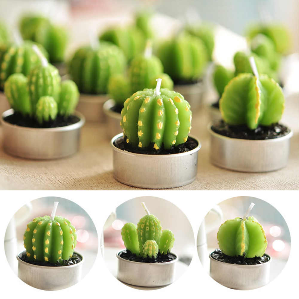 Artificial Mini Cactus Grape Shape Candles Scented Green Plants Candle For Birthday Wedding Party Decoration