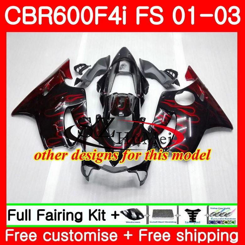 Cuerpo para HONDA CBR 600 F4i CBR 600F4i CBR600FS 600 FS Venta caliente blk 48SH19 CBR600 F4i 01 02 03 CBR600F4i 2001, 2002 de 2003 carenados - 4