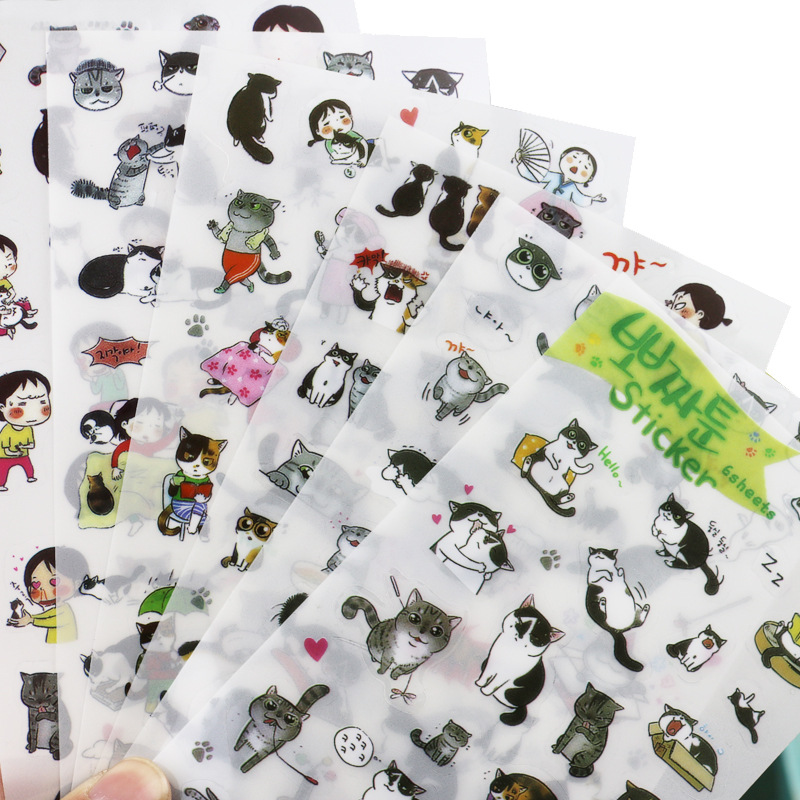6 creative transparent PVC stickers cute black and white cat album decoration stickers children diy toy diary decoration W0079