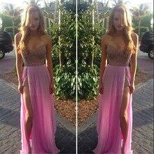 Erstaunliche Strand Prom Kleider Perlen Kristall Billig Chiffon-Abschlussballkleid 2016 Fuchsia Schatz Sleeveless Slit Kleider Für Prom