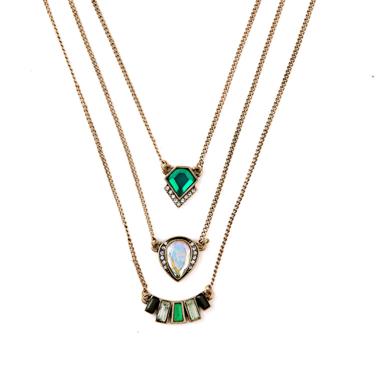 Multilayer Indian Hot Sale Designer Jewelry Summer Tide All Match Green Necklaces