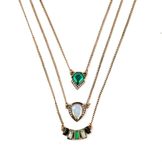Venta caliente India multicapa joyería de diseñador de verano marea Todos coinciden con collares y colgantes verdes