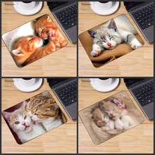 Yuzuoan Cute Two Cat Kiss Picture Anti-Slip Laptop PC Mice Pad Mat Mouse pads For Optical Laser Mouse Gamer Mousepad 18*22CM tecknet gaming office mouse pad mat ergonomic mousepad build in soft sponge with gel rest wrist support