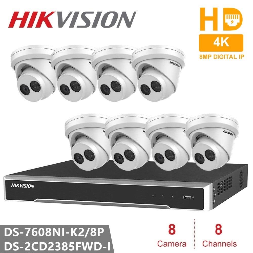 Hikvision DS 7608NI K2 8P Embedded Plug Play 4K NVR 8PCS DS 2CD2385FWD I Network Turret