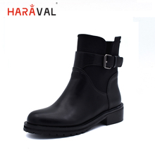 HARAVAL Winter Buckle Ankle Boots Handmade Soft Low Heel Round Toe Warm Shoes Solid Casual Fashion High Quality Women B200