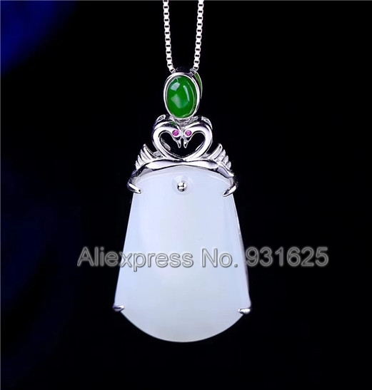 925 silver Natural White Green HeTian Yu Carved Elegant Swan Buckle Lucky Pendant + Necklace + certificate Fashion Jewelry925 silver Natural White Green HeTian Yu Carved Elegant Swan Buckle Lucky Pendant + Necklace + certificate Fashion Jewelry