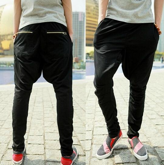 Nueva Marca de Moda de Baja de la entrepierna pantalones de los hombres, a través de los pantalones, pantalones de los hombres ocasionales, Hip Hop Danza pantalones, cremallera, M-XL