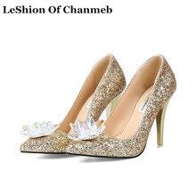 Taille 34-43 femmes 2019 de luxe glitter mince talons hauts de mariée de  mariage 47b259989fd5