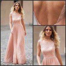 2015 elegante Sheer Illusion Spitze Backless Abend-kleider Scoop A-linie Chiffon Langer Abschlussball Kleidet Falten Formale Kleider Nach Maß