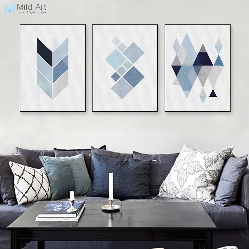 Modern abstract geometric shape a4 art print poster blue for Blue wall art for living room