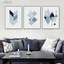 Modern Abstract Geometric Shape A4 Art Print Poster Blue Wall Picture Nordic Living Room Home Deco Canvas Painting No Frame Gift(China)