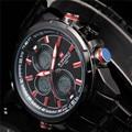 2016 Marca de Lujo de Los Hombres Militar Deportes Relojes de Cuarzo de Los Hombres LED Digital Horas Reloj de Acero Llena Masculino Relogio Del Reloj de pulsera Masculino