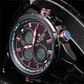 2016 Marca de Luxo Homens Esportes Militares Relógios de Quartzo dos homens LEVOU Digital de Hora do Relógio Masculino Aço Completa Relógio de Pulso Relogio Masculino