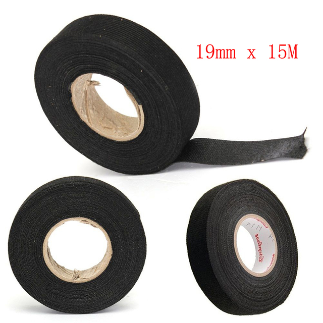 15m/roll looms cars wiring harness tape wiring harness noise sound  insulation fleece tape black hot adhesive cloth fabric tape