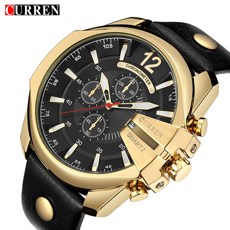 Relogio Masculino CURREN Golden Men Watches 8176 Top Luxury Brand Watch Man Quartz Gold Watches Men Clock Wrist Watch Drop