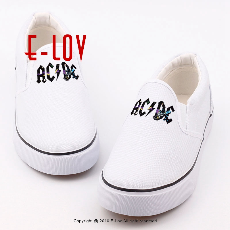 2017 free shipping hip-hop rock heavy metal AC DC printed canvas shoes cool women rocky stars casual flat shoes sapatos