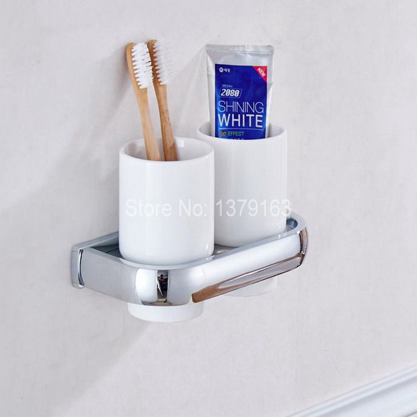 Bathroom Accessories Polished Chrome Br Bath Wall Mounted Toothbrush Holder Set White Double Ceramic Cups Aba836 In Cup Tumbler Holders From