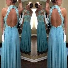 Roben de soiree 2016 longue sexy backless halfter hellblau chiffon-eine line abendkleider hergestellt in china