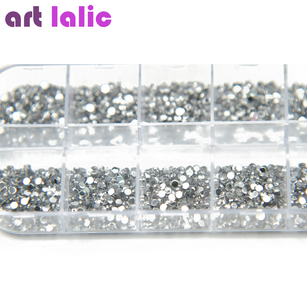 3000 Pcs 1.5mm Clear Silver Rhinestones Nail Decoration Round Glitters With Hard Case DIY Nail Art Decorations 50 pcs set 3d nail art decorations glitters diy nail tools full rhinestones silver crown crystal nails studs1