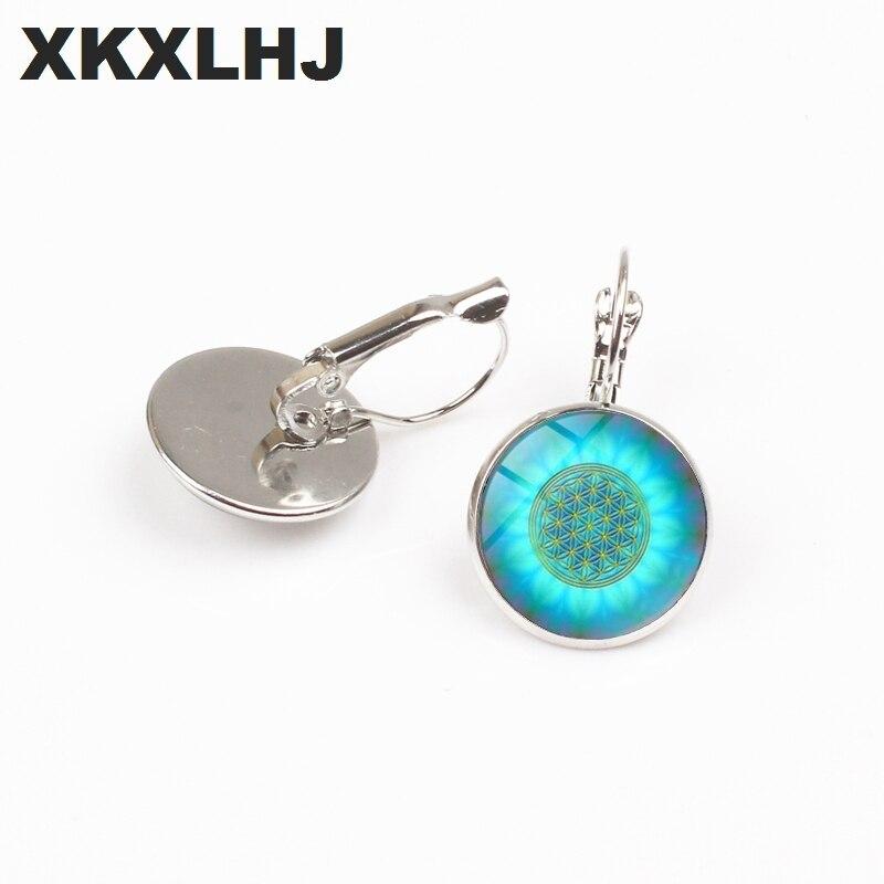XKXLHJ New Blue Flower of Life Earrings Art Glass Mandala  Divine Geometric Handmade Earrings Fashion  Jewelry Women Gifts