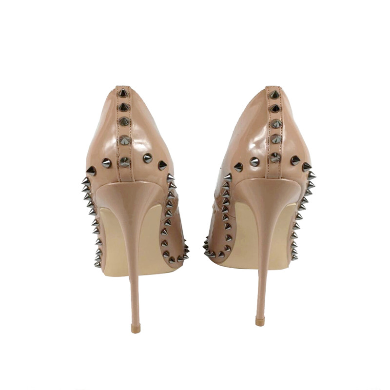 Sexy 12 cm extreme high heels women shoes with bow rivets nude black red pointed toe shallow women pumps plus size MD002ROVICIYA in Women 39 s Pumps from Shoes