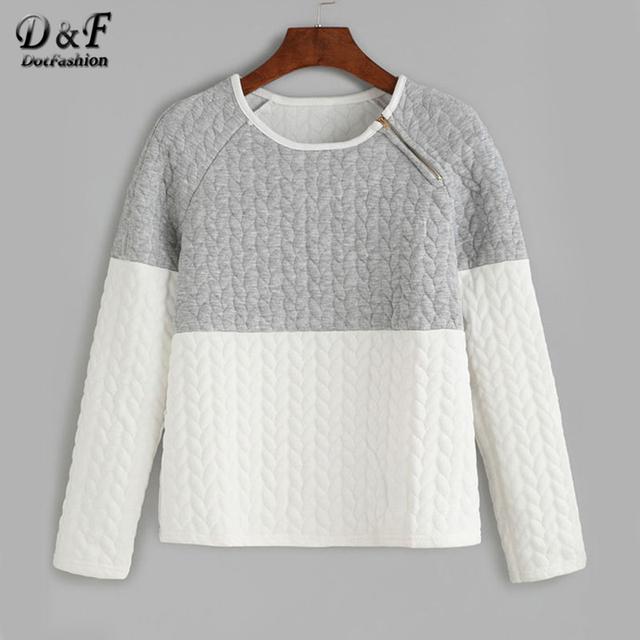 a819de12a13 Dotfashion Two Tone Zipper Detail Embossed Raglan Sleeve Sweatshirt 2019  Color Block Pullovers Long Sleeve Sweatshirt